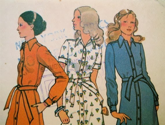 Vintage Halston shirt dress sewing pattern