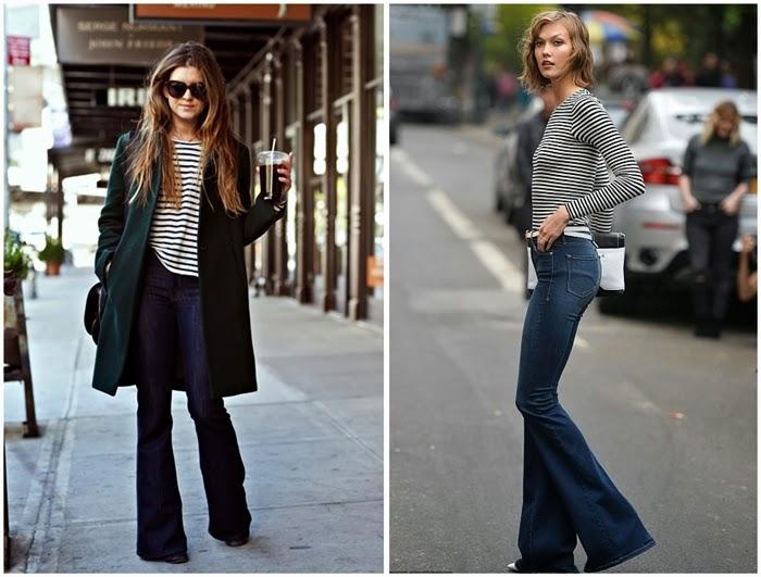 jeans a zampa maglia righe