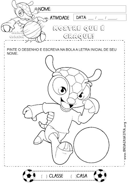 Atividade Letra Inicial Mascote da Copa 2014 para Colorir