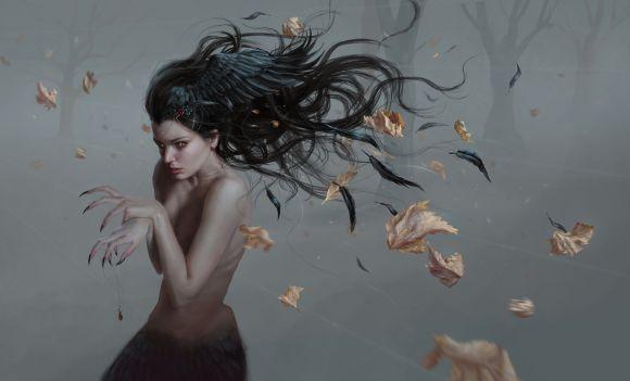 Laura Sava anotherwanderer deviantart ilustrações fantasia belas mulheres Corvo