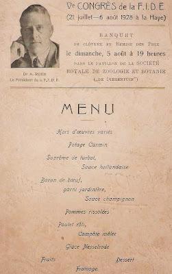Menú de clausura de la Olimpíada de La Haya 1928