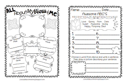 All About My Mom Printable Worksheet For Mothers Day - oukas.info