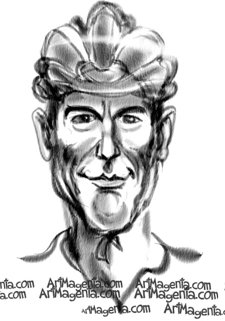 Lance Armstrong caricature cartoon. Portrait drawing by caricaturist Artmagenta.