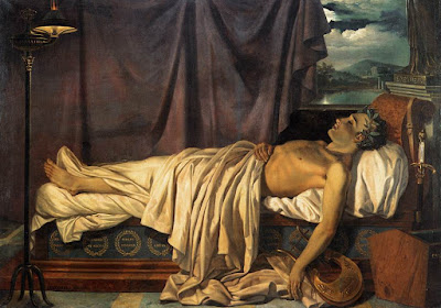 Lord Byron on his Death-bed by Joseph Denis Odevaere, circa 1826