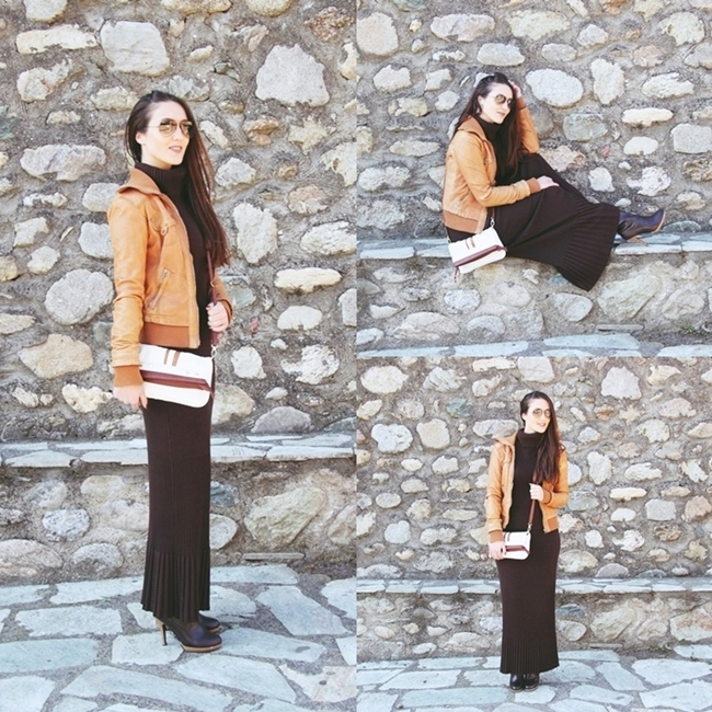 Instagram @lelazivanovic.outfit of the week: Chocolate Brown Knitwear.Brown knitted skirt and turtleneck.