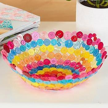 Manualidades de todos un bol con botones o papel - Trabajos artesanales para hacer en casa ...