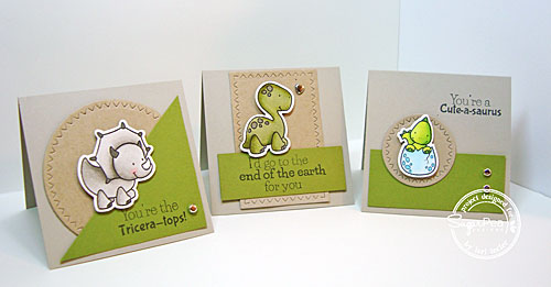 Prehistoric Pals mini card trio-designed by Lori Tecler/Inking Aloud-stamps and dies from SugarPea Designs