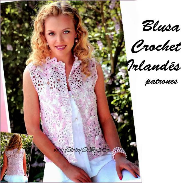 Patrones de blusa crochet irlandes