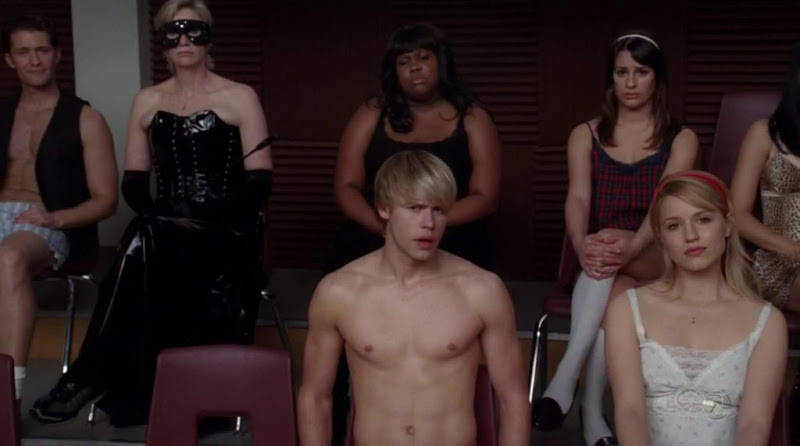 Chord Overstreet  and Harry Shum Jr. Shirtless on Glee s2e13