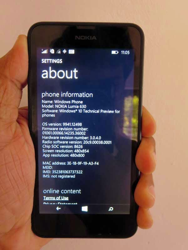 Windows phone 10 Technical preview build