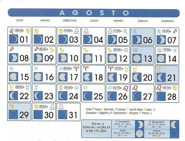Centro astrologico venezolano calendario lunar agosto 2011 for Calendario lunar de octubre 2016
