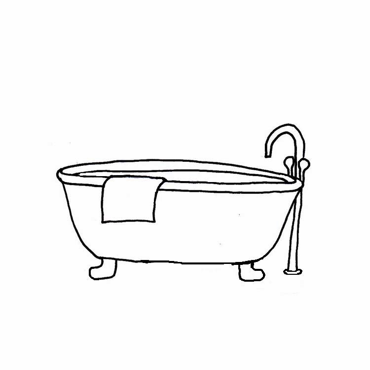bath towel clipart black and white - magiel