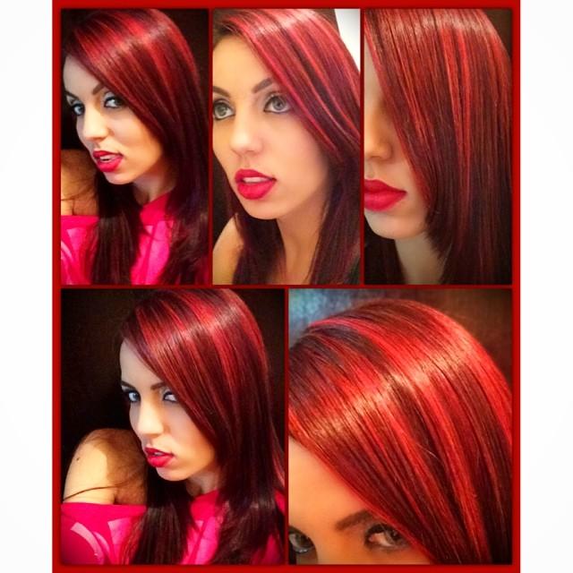 emchas vermelhas em cabelo preto