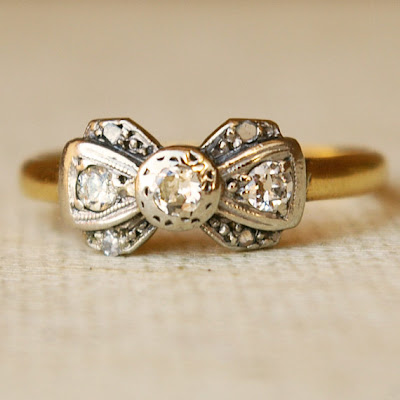 Discount Engagement Rings on Vintage Bow Antique Engagement Wedding Ring 1920s Cheap Inexpensive