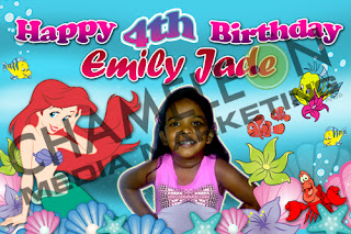 Aerial Mermaid Themed Birthday Banner with Child Photo