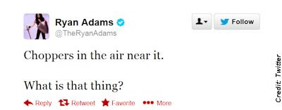 Singer Ryan Adams Tweets About Spotting a Huge UFO Last Night