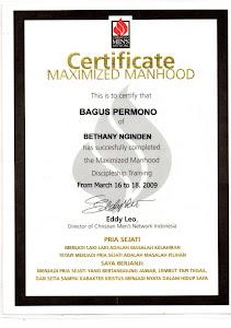 Sertifikat Dari Christian Men's Network Indonesia...Bukti Inovator juga Pria Sejati karena Yesus..!