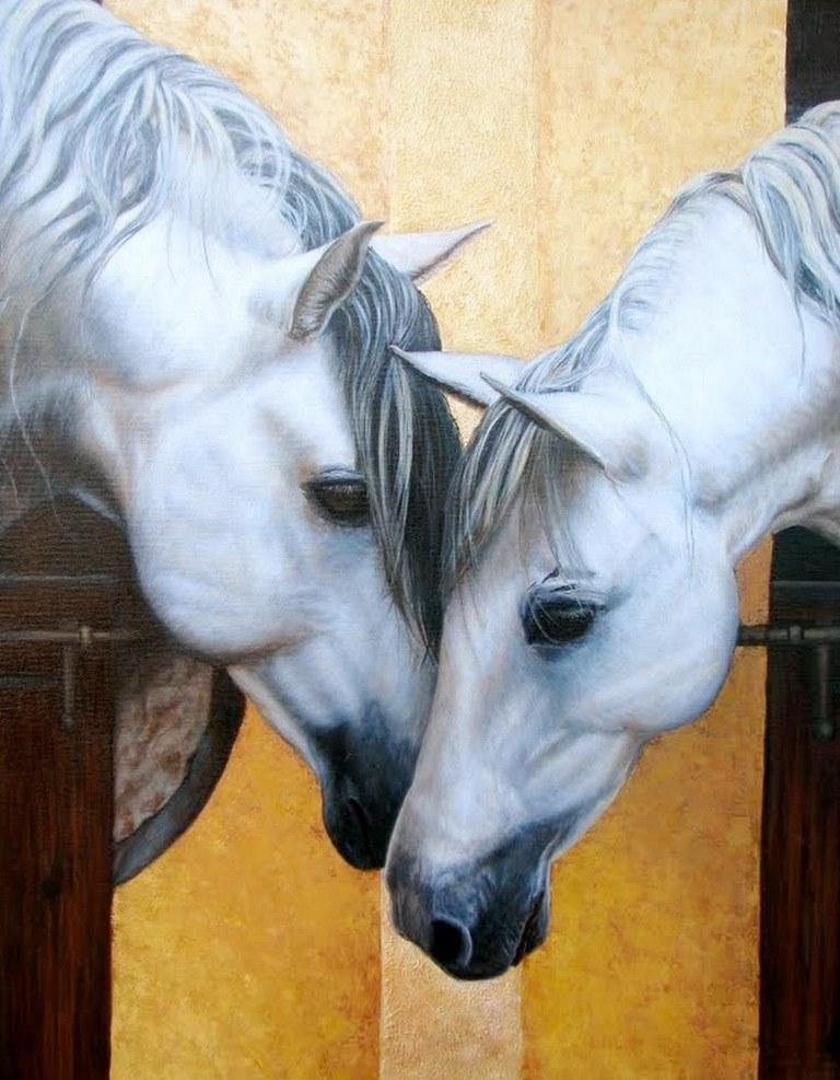 Cuadros pinturas oleos dos cabezas de equinos - Los cuadros mas bonitos ...