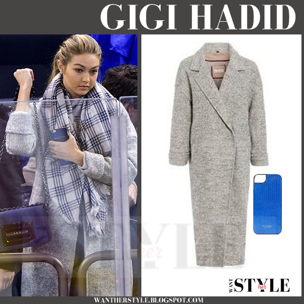Gigi Hadid in grey wool cocoon coat by Neon Rose what she wore models off duty
