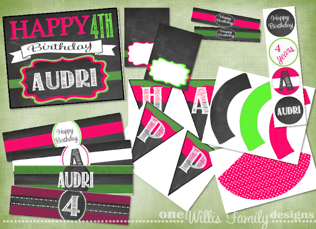 Girl Chalkboard Birthday package