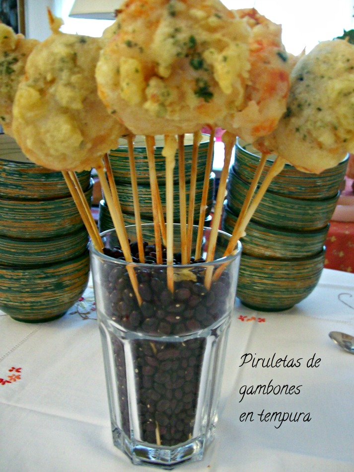 """piruletas de gambones en tempura"""
