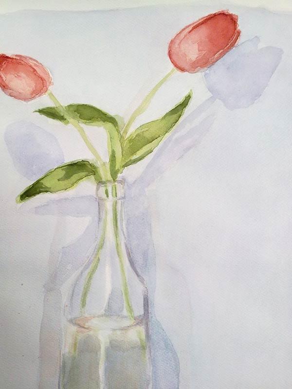 tulipanes en acuarela detalle