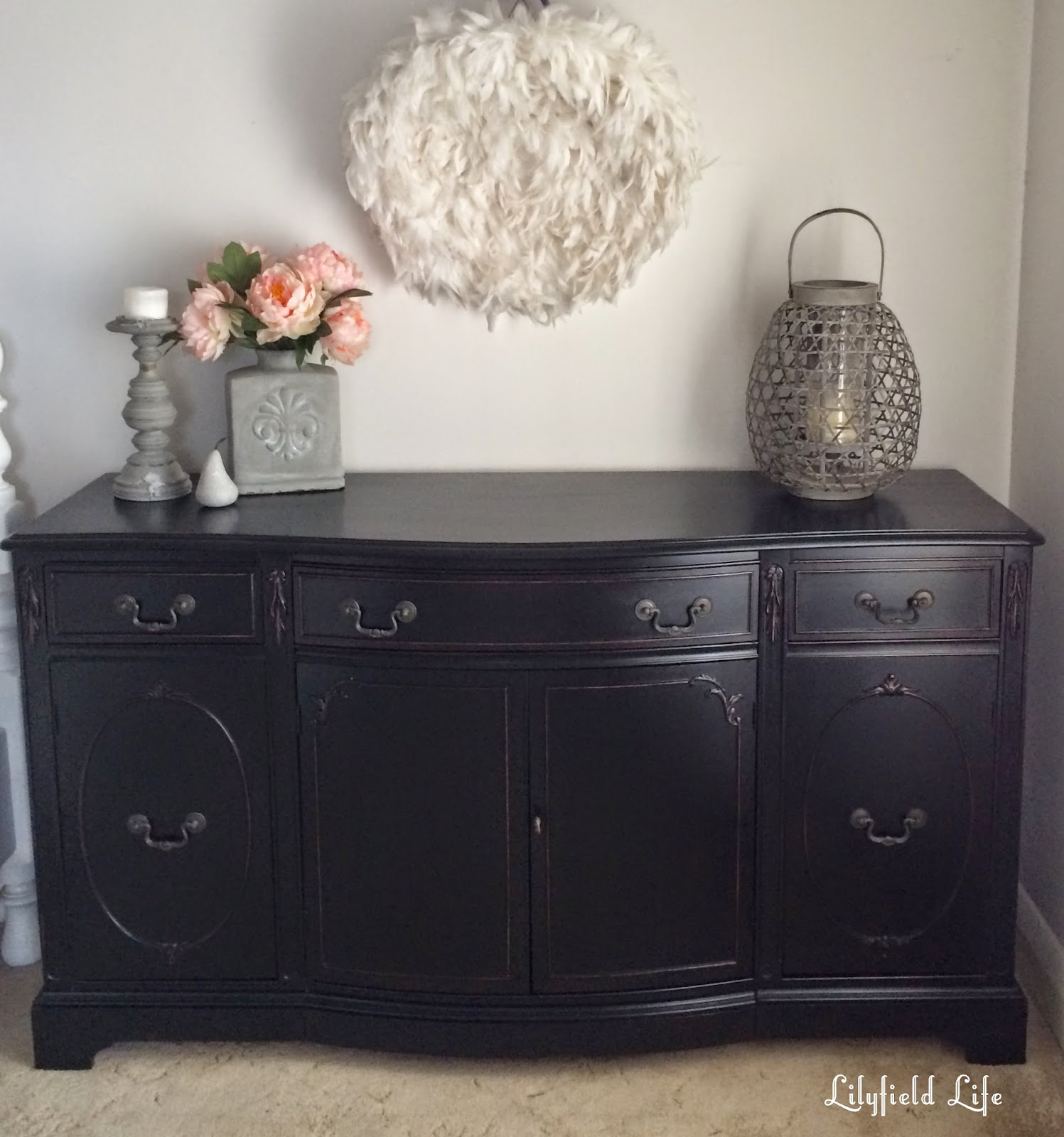 Painted Wooden Sideboard ~ Lilyfield life how to paint furniture black like a boss