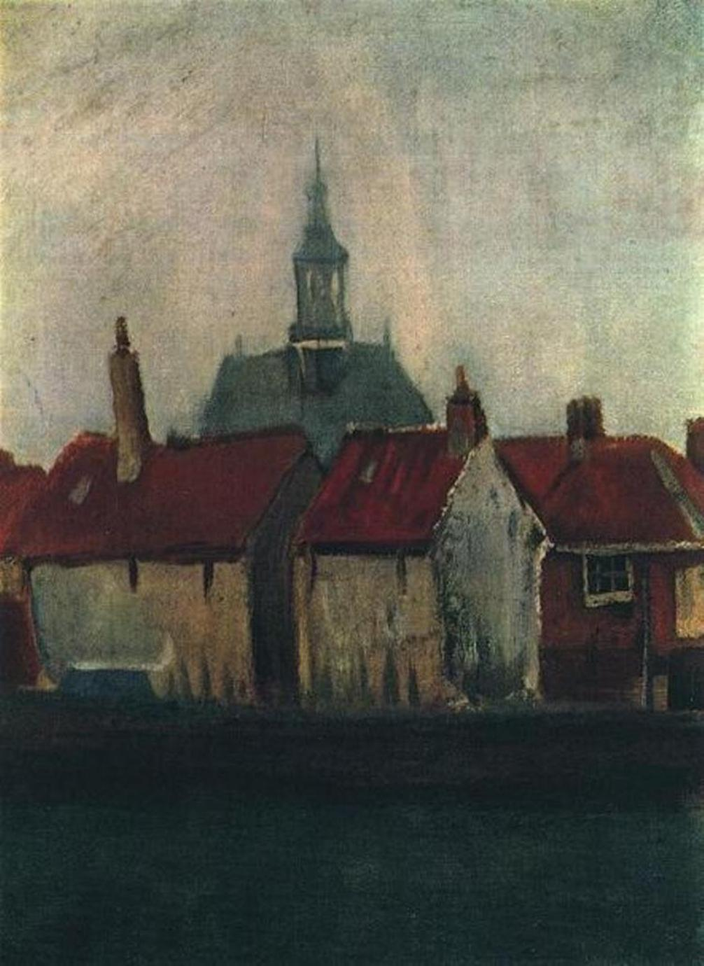 Cluster of Old Houses With the New Church in The Hague by Vincent van Gogh