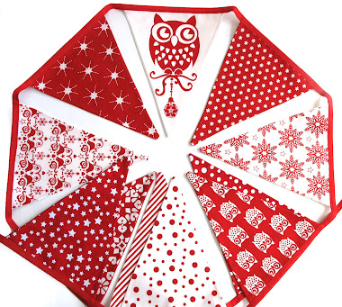 Christmas Red Owl Bunting Decoration