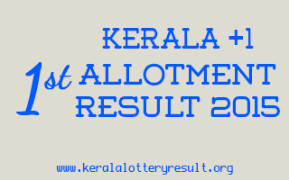 Kerala Plus One First Allotment Result 2015