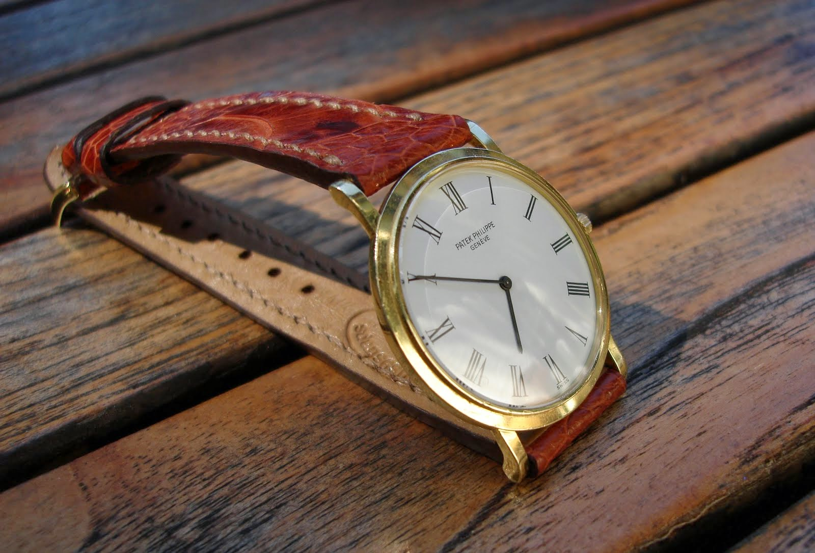 Vintage Patek Philip Calatrava on Cognac Ostrich Leg skin