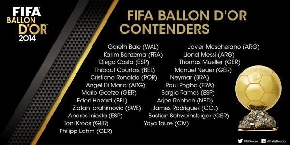 SENARAI PENUH PEMENANG ANUGERAH PEMAIN TERBAIK FIFA BALLON D OR 2014