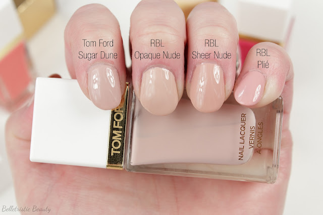 Tom Ford 01 1 Sugar Dune Nail Polish Lacquer swatch comparison, Spring 2014 Collection in studio lighting