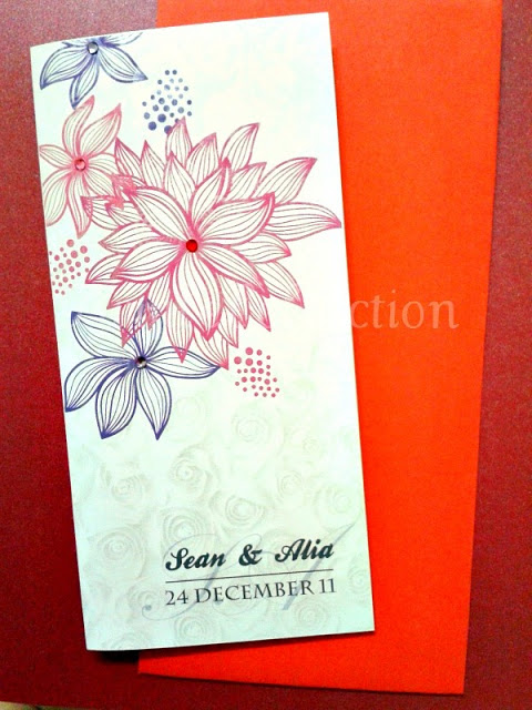 Pink Floral Wedding Invitation Card, wedding invitation card, malay wedding card, pink floral card, white perfume card, floral card, floral wedding card, wedding card, handmade card