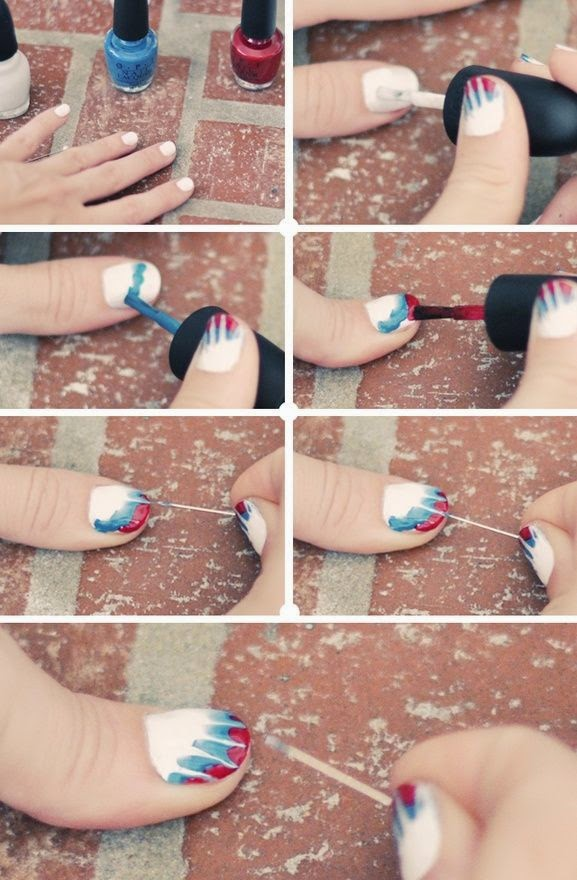Fashion, DIY, Home, Lifestyle DIY Tie Dye Nails  Red, White, Blue Manicure for the 4th of July