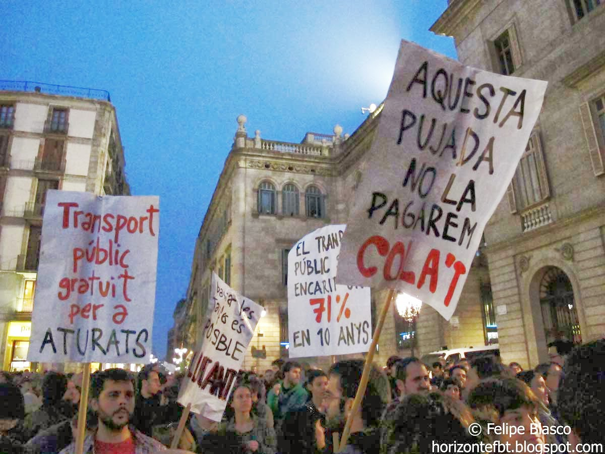 Manifestación en Barcelona de StopPujadesTransport