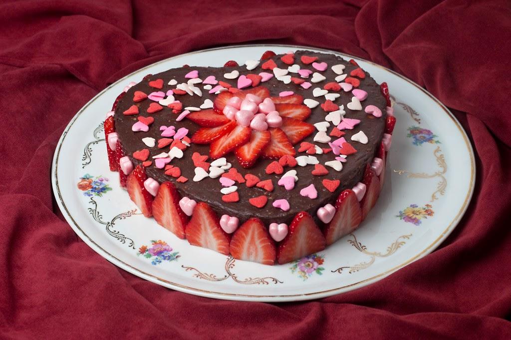 Strawberry Heart Made Cake