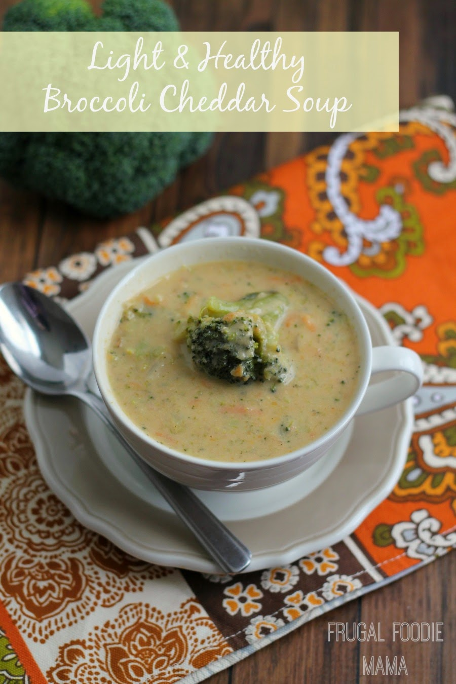 This one pot, weeknight friendly Light & Healthy Broccoli Cheddar is packed full of fiber rich veggies