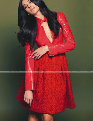 Red Outfit Nargis Fakhri Photoshoot August 2012