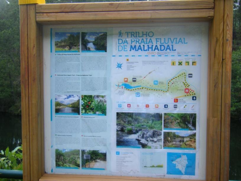 Quadro indicativo do trilho da praia fluvial de Malhadal