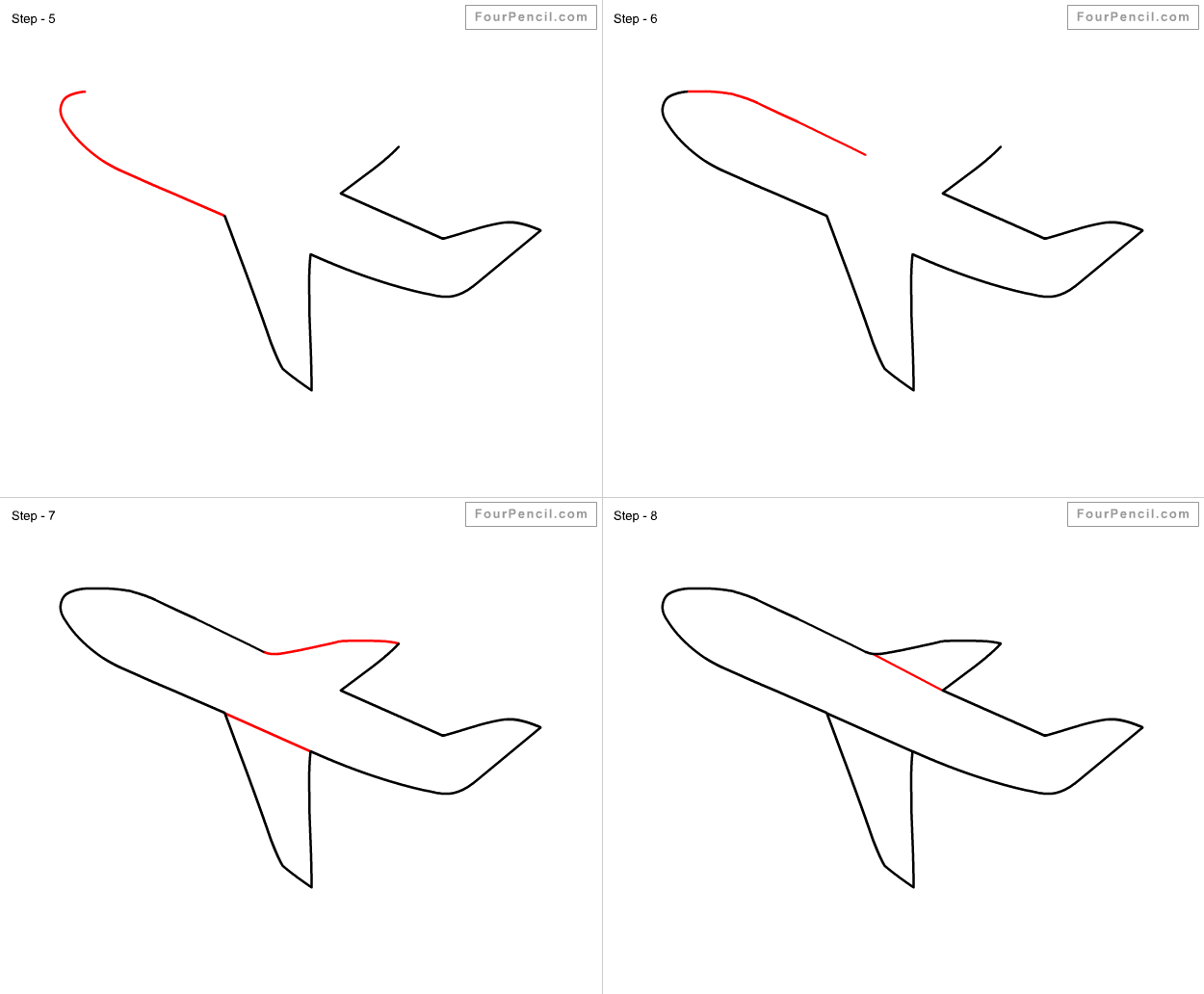 how to draw aeroplane slide 2