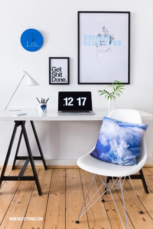 Arbeitszimmer Schreibtisch Home Office Blau Weiss #homeoffice #workingplace #workingspace #arbeitszimmer