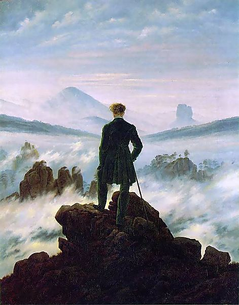 the connection between humans and the divines wanderer above the sea of fog by caspar david. Black Bedroom Furniture Sets. Home Design Ideas