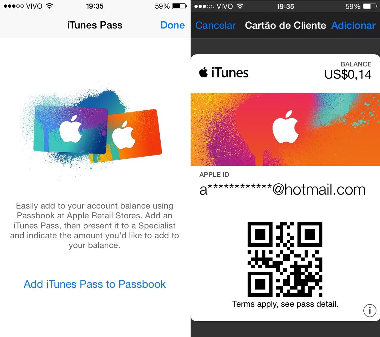 Ativar iTunes Pass