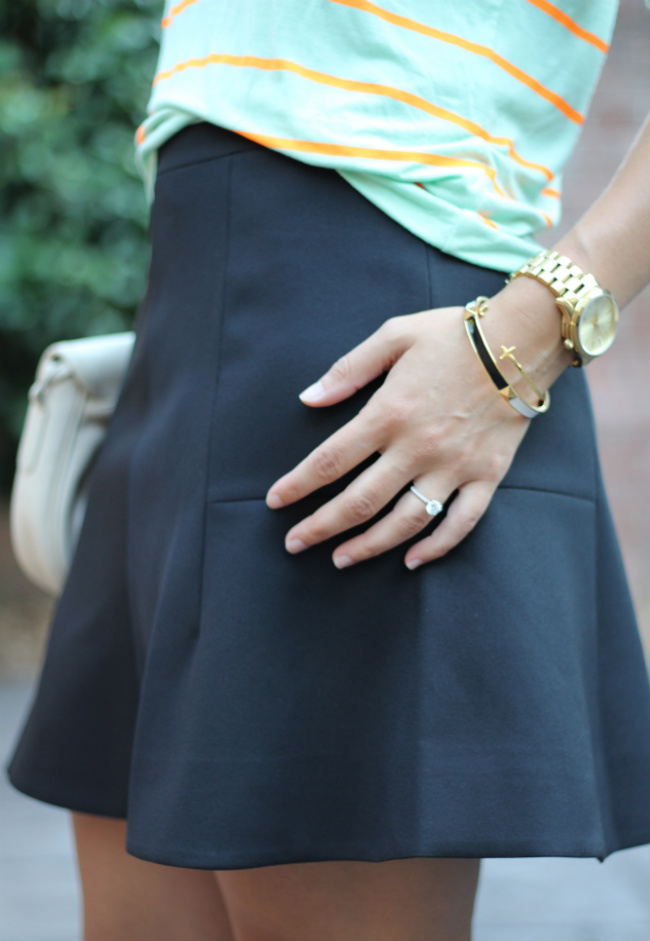 j.crew fluted skirt in double crepe, flattering black skirt
