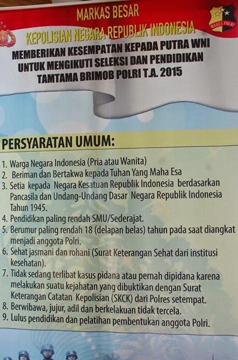 Persyaratan Umur Untuk Penerimaan Tamtama Polri TA. 2015