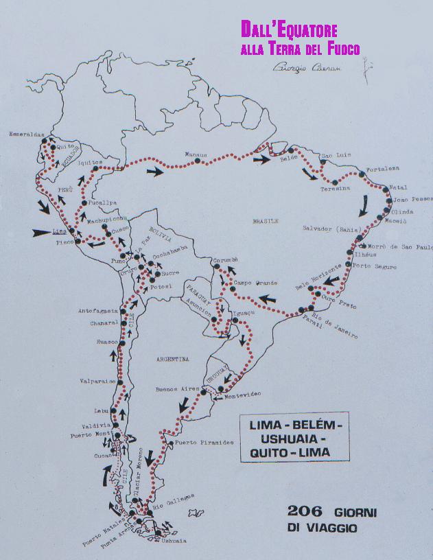 Un altro itinerario di GIORGIO CÀERAN con lo zaino, durato 7 mesi (1987-'88).