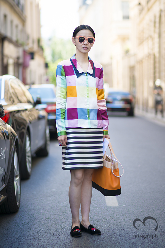 mitograph Sherry Shen wearing Thom Browne New York Fendi Paris Mens Fashion Week 2014 Spring Summer PFW Street Style Shimpei Mito