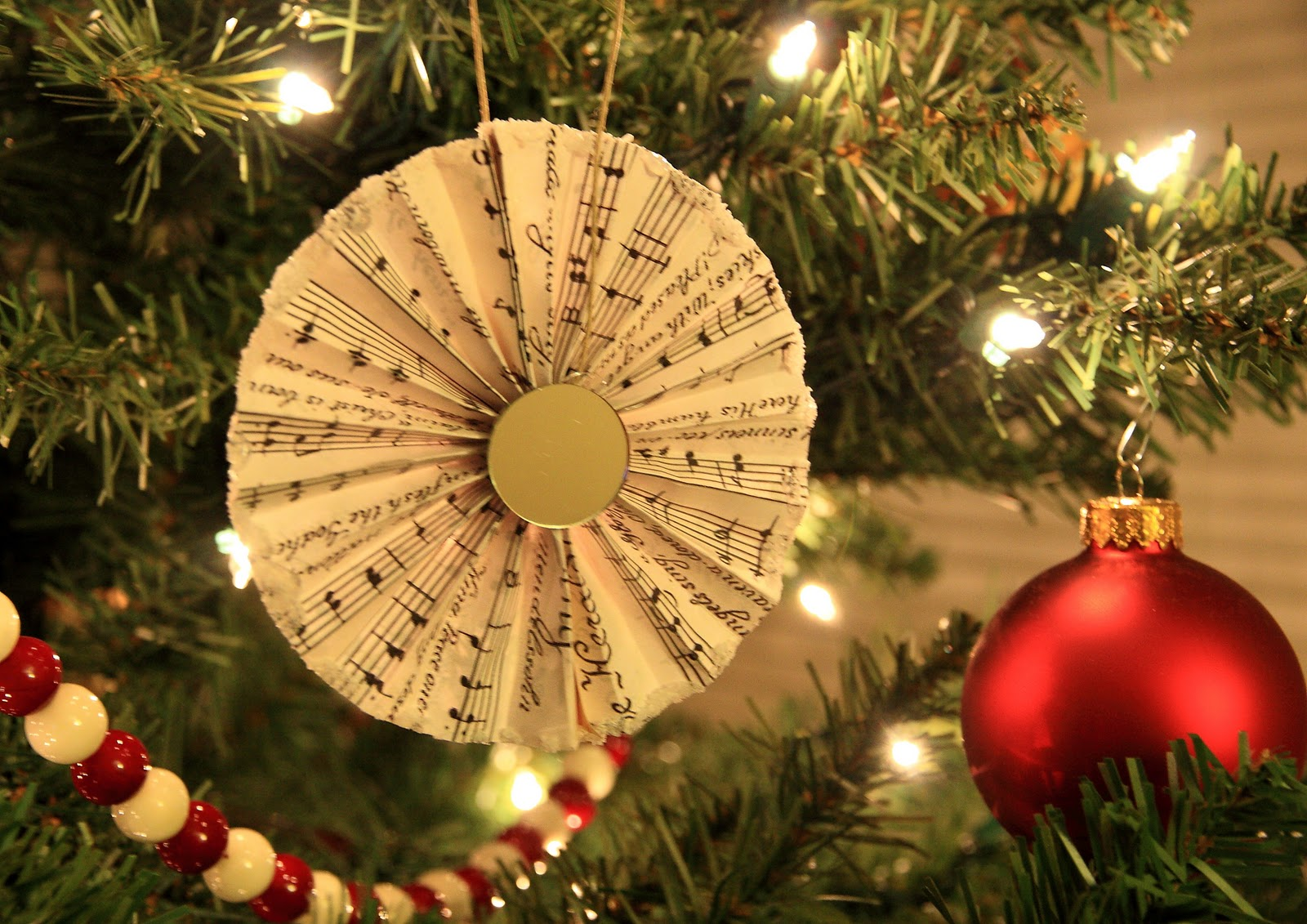 sheet music paper fan christmas ornaments - Orange Coloured Christmas Tree Decorations