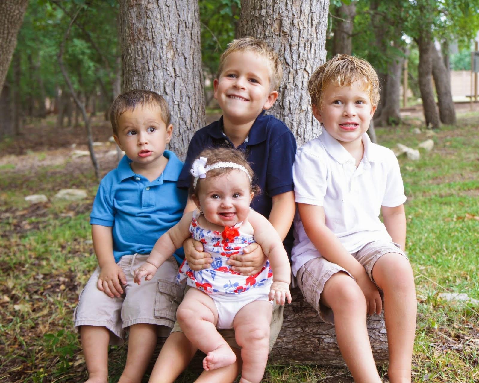 Weston 6.5, Caleb 4.5, Tyson 2.5, Lucy 6 Months